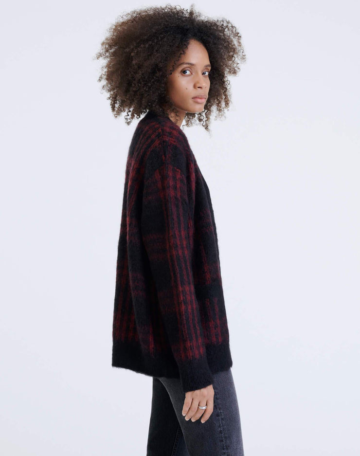 90s Oversized Cardigan - Black and Burgundy Plaid