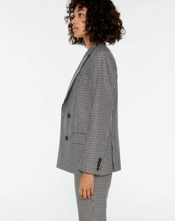 70s Double Breasted Blazer - Creme Navy Plaid