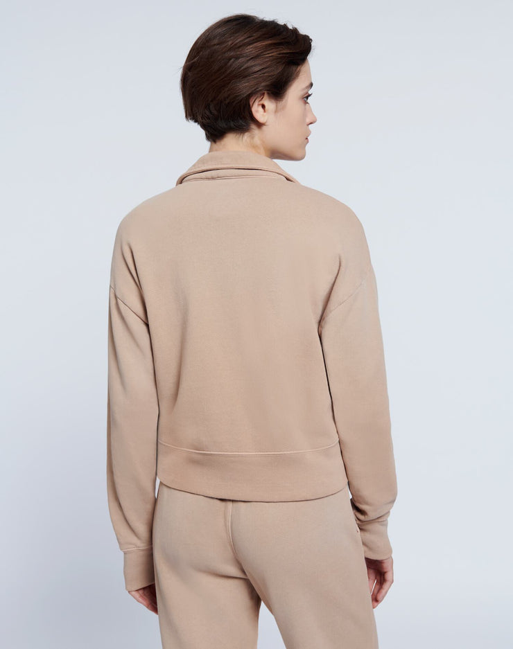 70s Half Zip Sweatshirt - Faded Khaki
