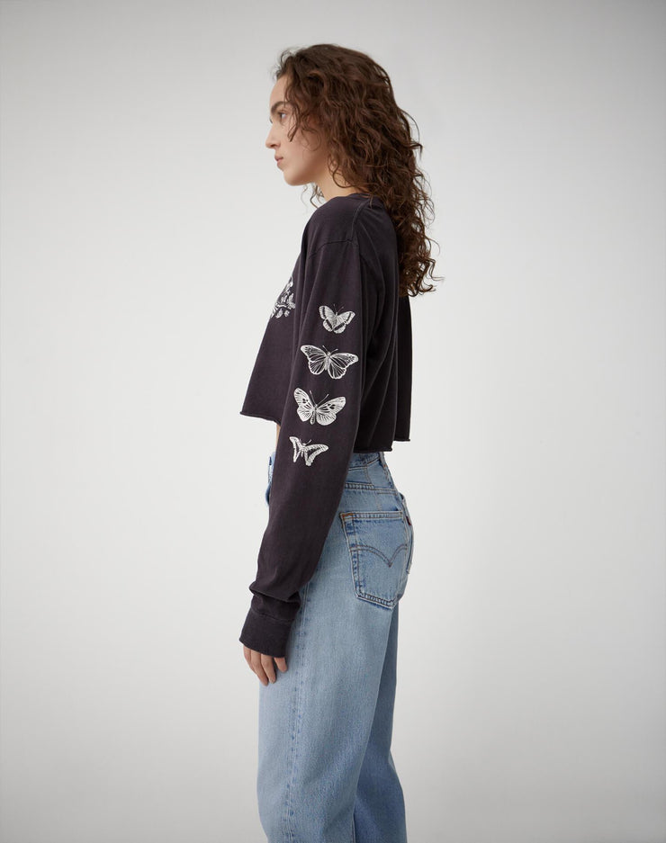 "Long Sleeve Crop Tee ""Psychedelic Lion"" - Stone Black"