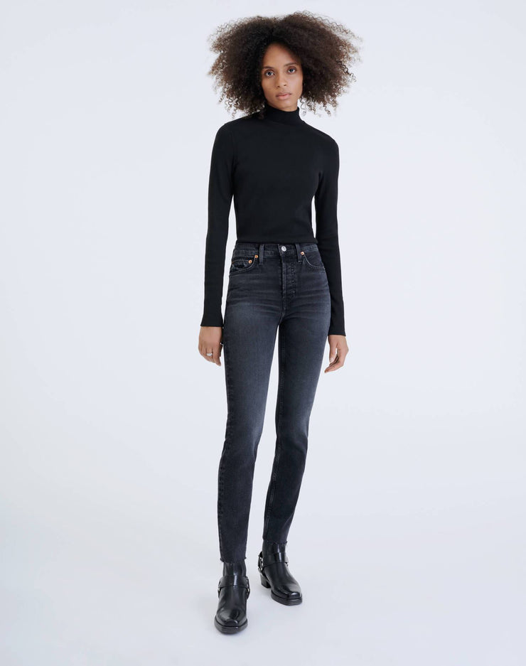 Comfort Stretch High Rise Ankle Crop - Faded Coal