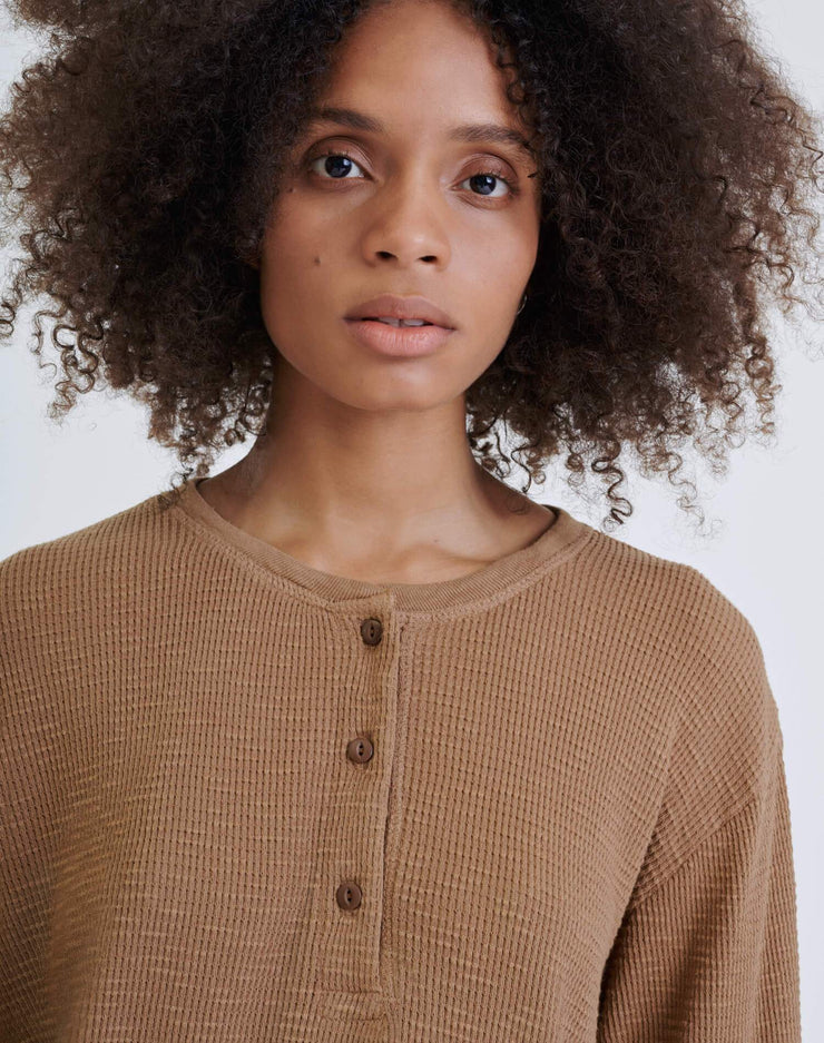 Henley Thermal Long Sleeve Tee - Natural Tan Brown