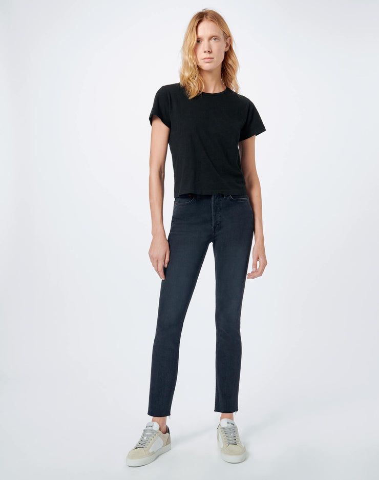 Comfort Stretch High Rise Ankle Crop - Faded Black