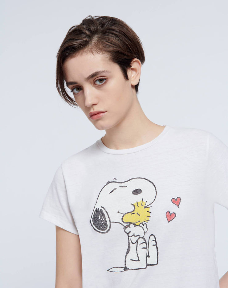 "Classic ""Snoopy & Woodstock Love"" Tee - Vintage White"