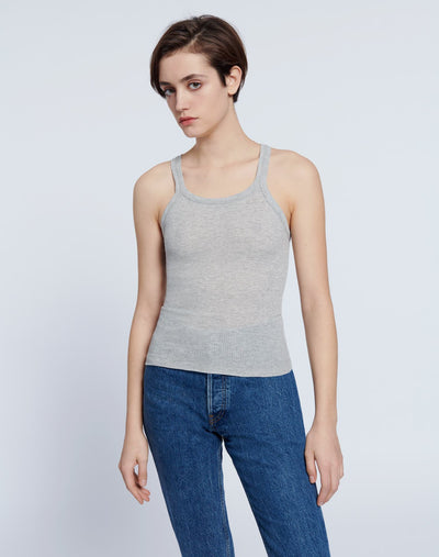 Ribbed Tank - Heather Grey