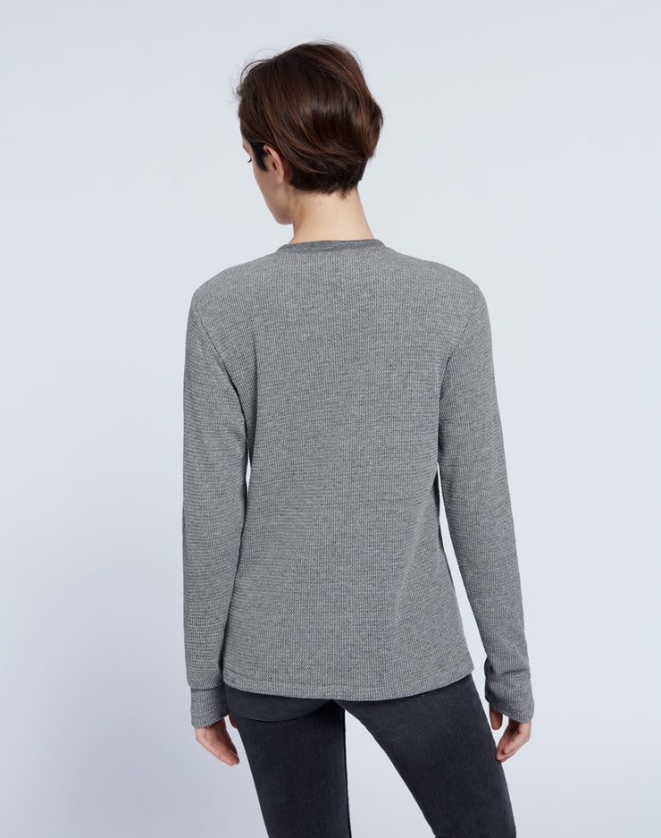 Henley Thermal Long Sleeve Tee - Heather Grey