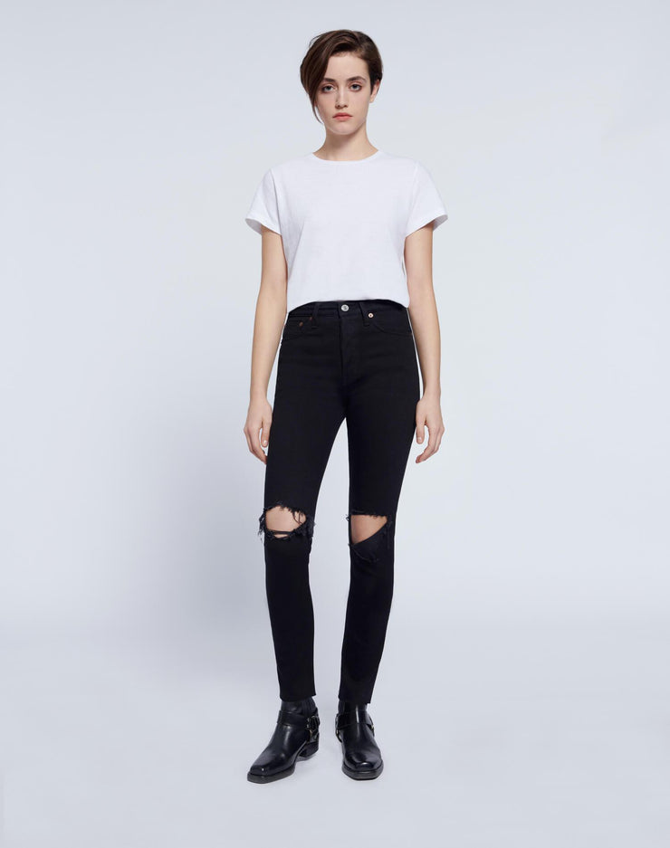 Comfort Stretch High Rise Ankle Crop - Jet Black with Rips