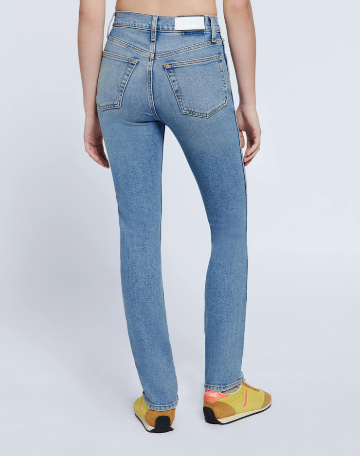 80s Comfort Stretch Slim Straight - Brisk Blue with Rips