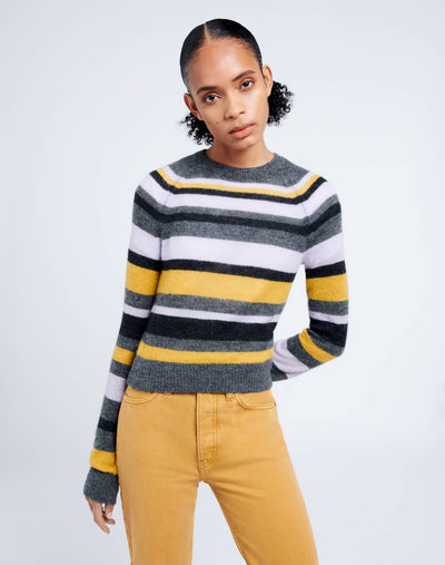 60s Shrunken Sweater - Irregular Stripe