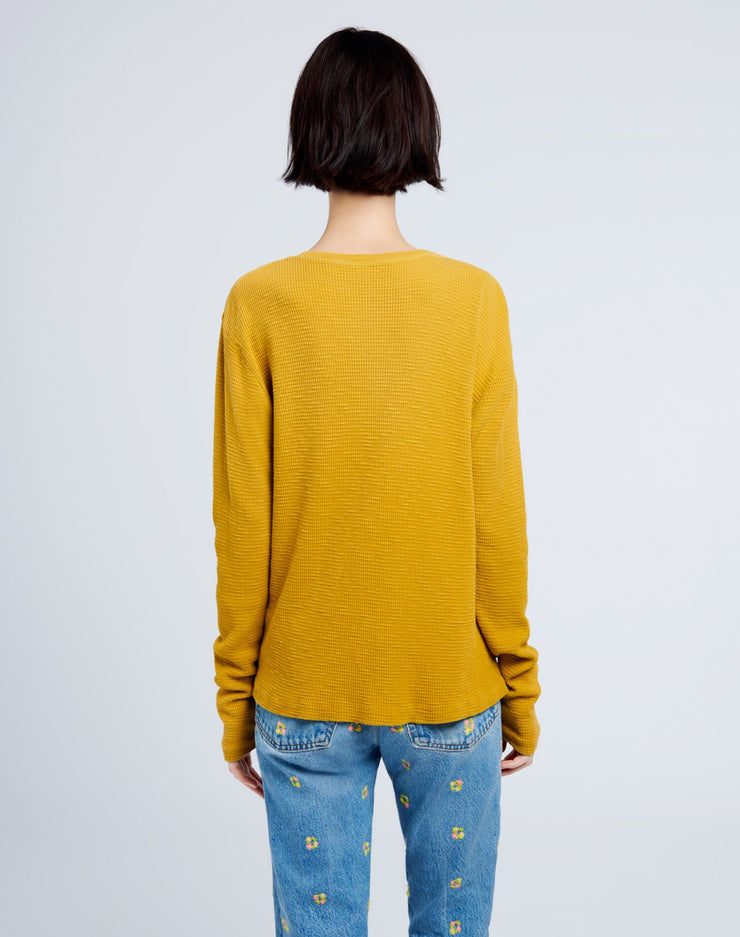 Henley Thermal Long Sleeve Tee - Faded Mustard