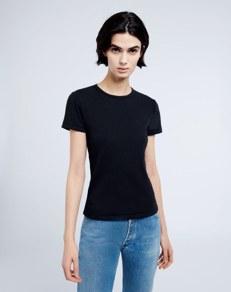 60s Ribbed Short Sleeve Tee - Black