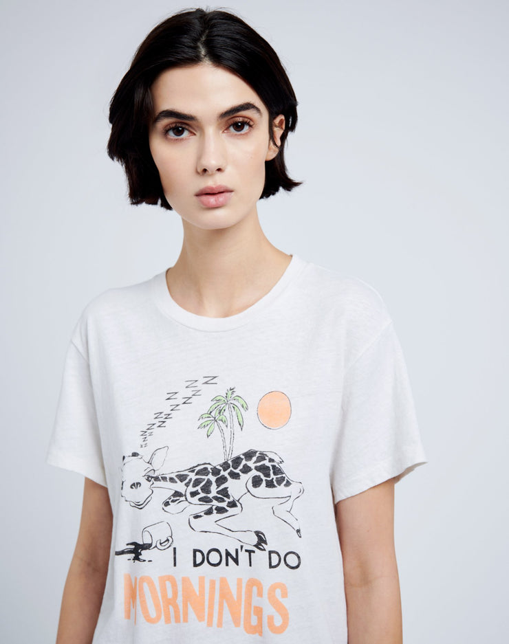 "70s Loose ""I Don't Do Mornings"" Tee - Vintage White"