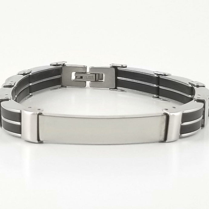 Black Rubber Bracelet |Stainless Steel | Engravable Bracelet | L-22cm W-8mm | Adult Men Women