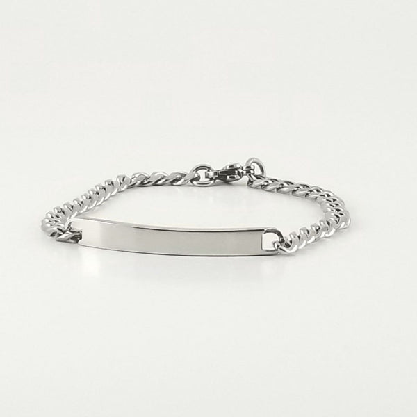 Stainless Steel Engravable Bracelet | Cuban Link ID Bracelet | L-16cm W-4mm | Child Kids