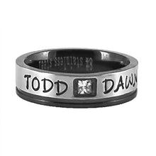 Load image into Gallery viewer, Custom Name Ring - Black Edge With a Beautiful Clear CZ Stone Thin Band