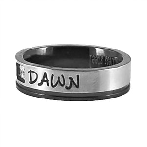 Custom Name Ring - Black Edge With a Beautiful Clear CZ Stone Thin Band
