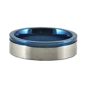 Custom Name Ring - Blue Metallic Edge With a Beautiful Clear CZ Stone on a Thin Band