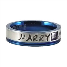 Load image into Gallery viewer, Custom Name Ring - Blue Metallic Edge With a Beautiful Clear CZ Stone on a Thin Band