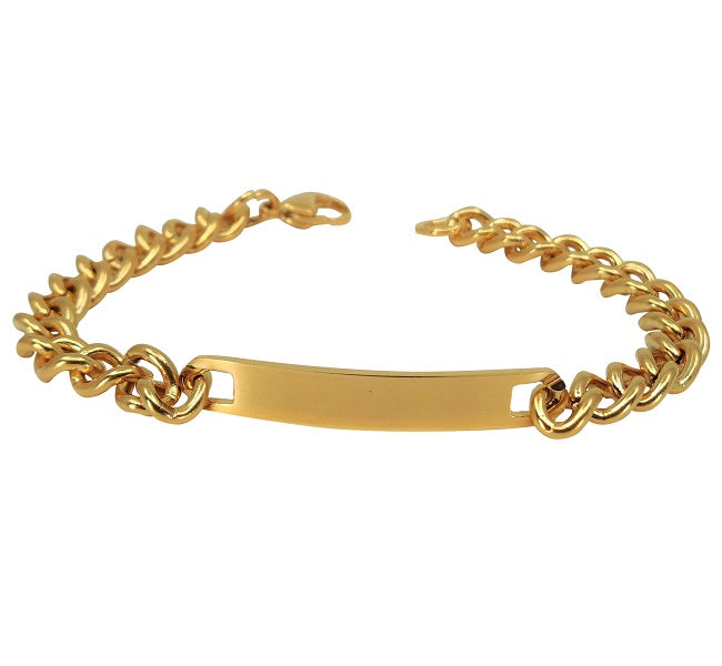 Gold Color Plated Stainless Steel Engravable | Cuban Link ID Bracelet | Large Adult Women Men