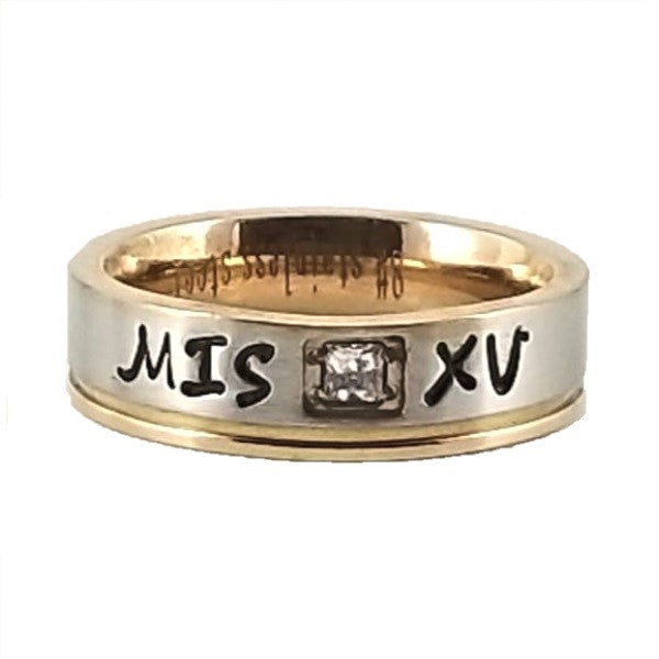 Custom Name Ring - Rose Edge With a Beautiful Clear CZ Stone on a Thin Band : Personalized your way!