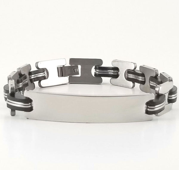Stainless Steel Black Rubber | 2-tone Engravable ID Bracelet | L-21cm W-10.5mm | Adult Men Women