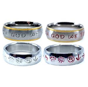 Custom Name Ring - Marked Edges on a Wide Band : Personalized your way!