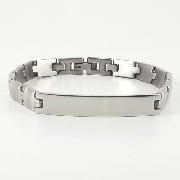 Stainless Steel Engravable Bracelet | Smooth Link Bracelet | L-21cm W-7.5mm | Adult Men Women