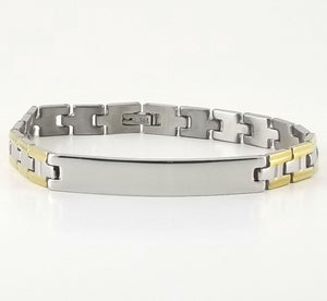 2-tone Engravable | Panther Link Bracelet | Stainless Steel | L-20cm W-8mm | Men Women