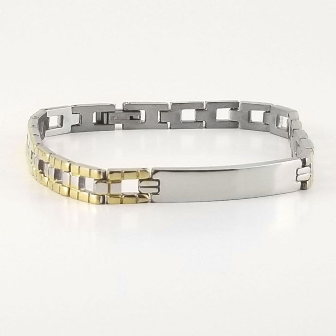 2-tone Engravable | Panther Link Bracelet | Stainless Steel |  L-20cm W-6.5mm | Men Women