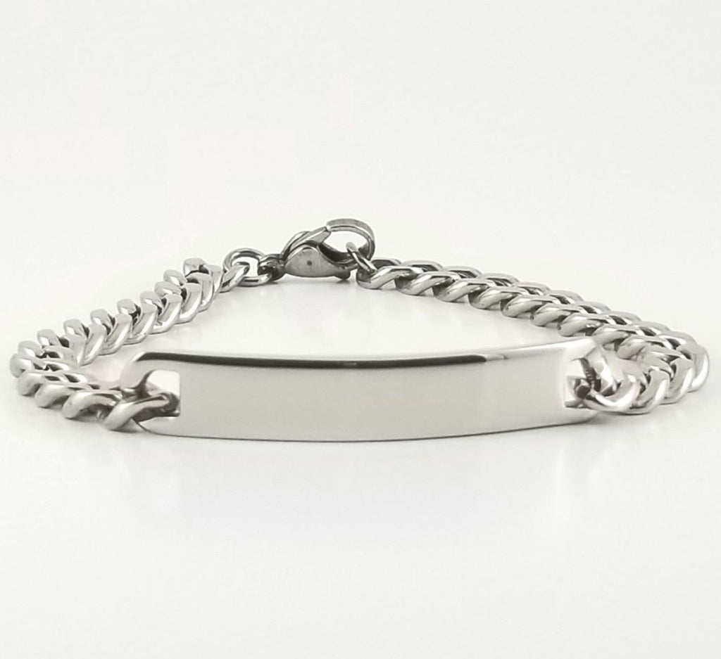 Stainless Steel  Engravable Bracelet | Cuban Link ID Bracelet | L 21 cm W .80 cm | Adult Men Women