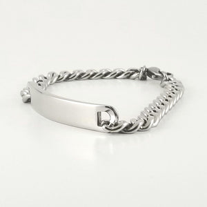 Stainless Steel Engravable Bracelet | Cuban Link ID Bracelet | Large Adult Men Women