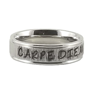 Custom Name Ring - Striped Finish on a Thin Band : Personalized your way!