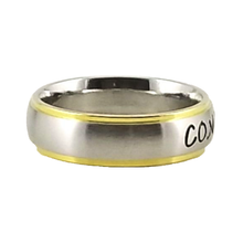 Load image into Gallery viewer, Custom Name Ring - Gold Colored Edges on a Thin Band : PERSONALIZED your way!