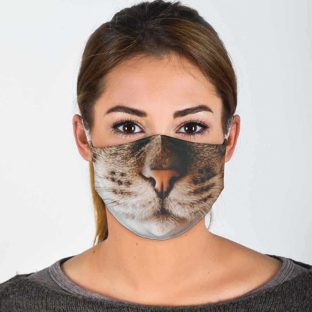 Brown Tabby Cat Face Mask