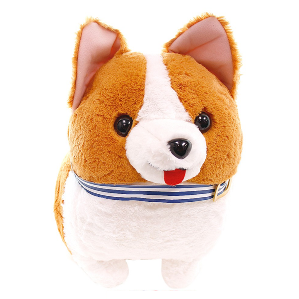 Amuse Corgi Dog Big Plush - Ichi with Blue, Red Collar 19""