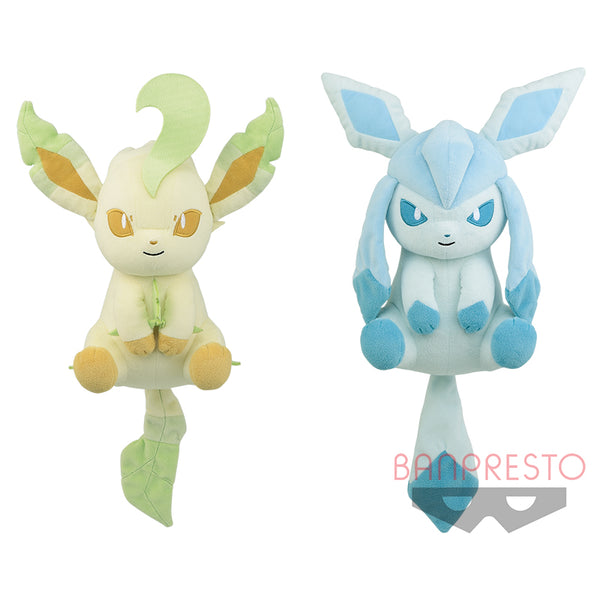 Pokemon Plush Official Licensed I Love Eevee Mega Big Relax Leafeon & Glaceon