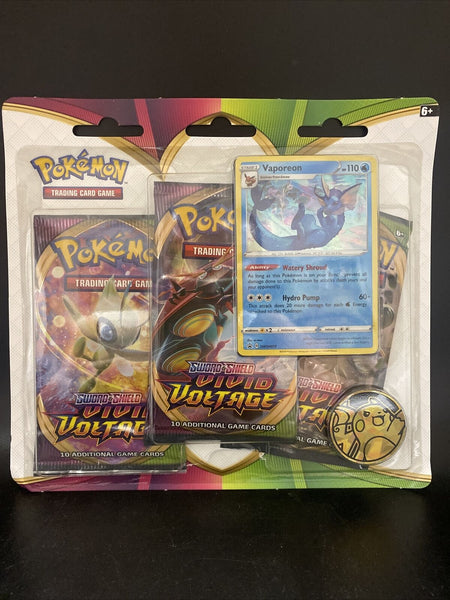 Pokemon TCG Sword & Shield Vivid Voltage 3-Pack Blister with Vaporeon Promo