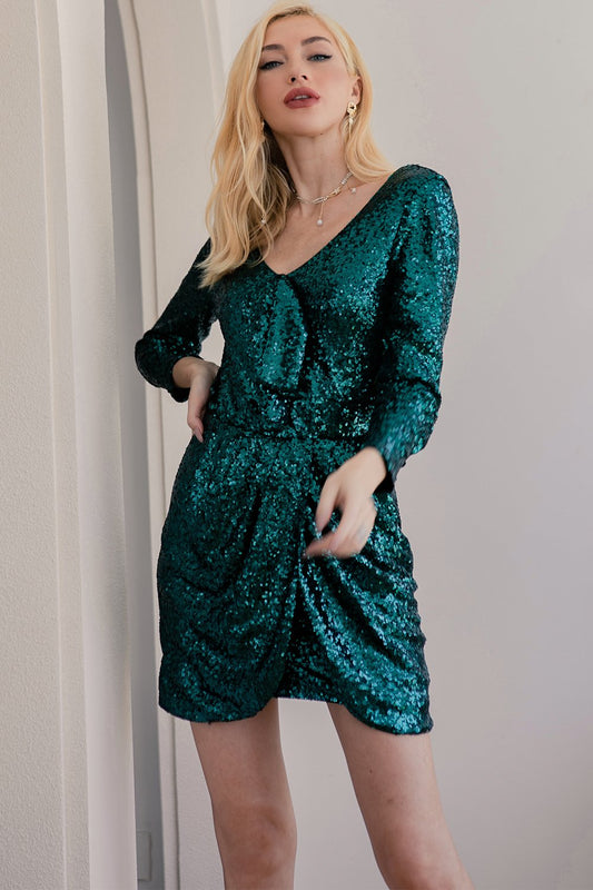 green holiday party dresses