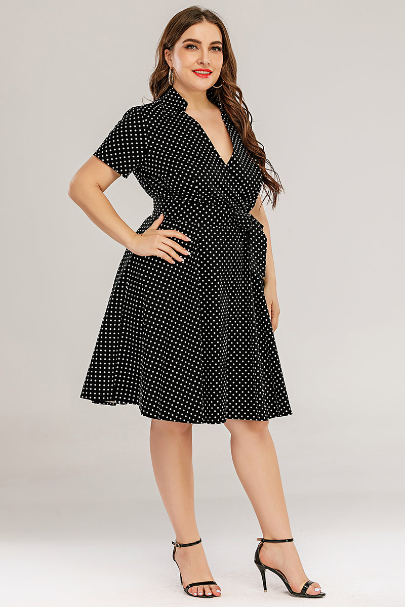 Load image into Gallery viewer, Plus Size V Neck Swing Dress