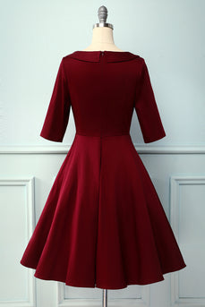 Burgundy V Neck 1950s Vintage Party Dress