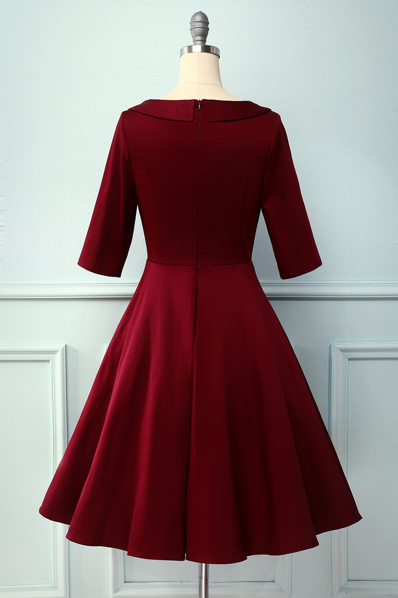 Load image into Gallery viewer, V Neck 1950s Vintage Party Dress