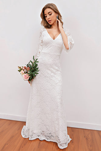 Elegant V Neck White Bridesmaid Dress with 3/4 Sleeves