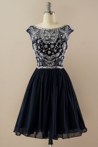 Navy Beaded Sleeveless Homecoming Dress