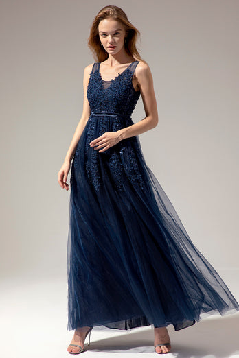 Appliques Long Prom Dress
