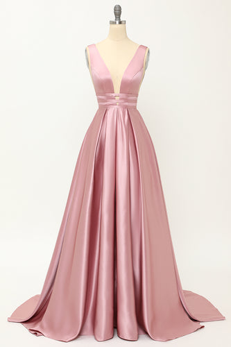 Blush Satin Long Prom Dress