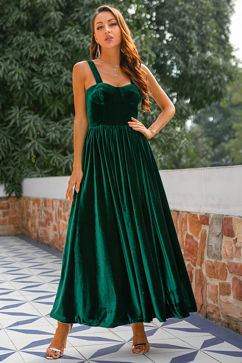 Load image into Gallery viewer, Dark Green Velvet Prom Dress