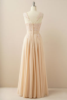 Chiffon Beaded Bateau Prom Dress