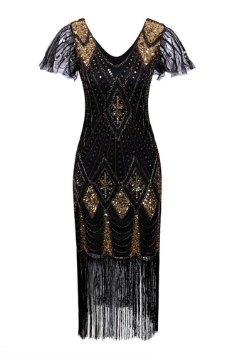 Black and Gold Flapper 1920s Sequins Dress