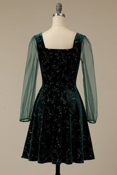 Dark Green Velvet Party Dress