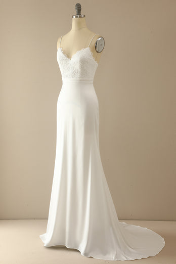 Mermaid White Long Prom Wedding Dress